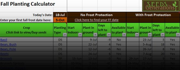 Fall Planting Calculator - Seeds for Generations